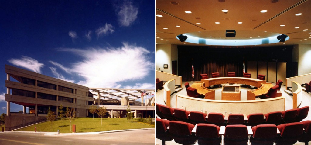 Interior and exterior photographs of the Brea Civic/Cultural Center
