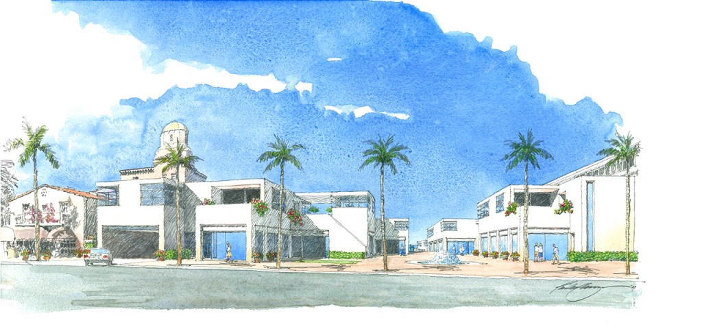 Street perspective rendering of the Cove Suites