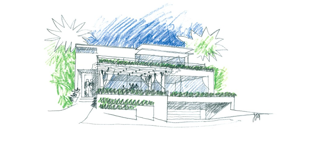 Exterior rendering of the Coastal Residential Remodel