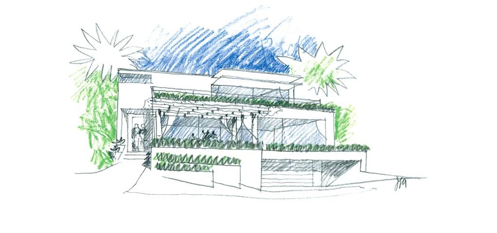 Exterior rendering of the Coastal Residential Remodel