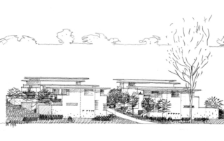Black and white rendering of townhomes