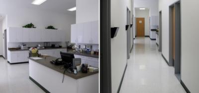 Interior photographs of the Nestor Community Health Clinic
